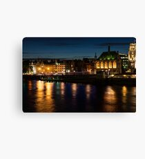 London Night Magic - Colorful Reflections on the Thames River Canvas Print