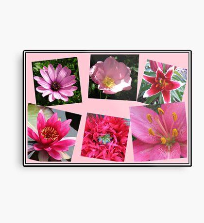 Pink Flowers of Summer Collage Metallbild