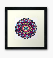 One colorful doodle flower. Hand drawn summer card. Framed Print