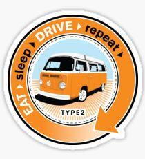 Eat Sleep Drive Repeat orange blue fan Sticker