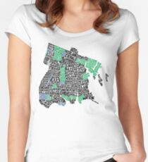 Bronx, New York City Typography Map Women's Fitted Scoop T-Shirt