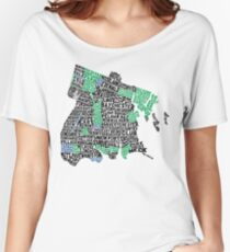 Bronx, New York City Typography Map Women's Relaxed Fit T-Shirt