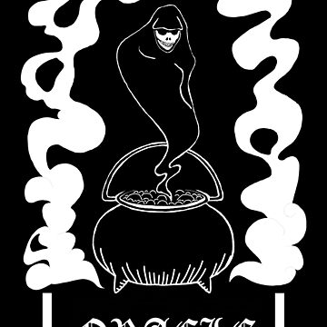 Oracle - Black and White Ghost Witchy Goth Art by juliawaters
