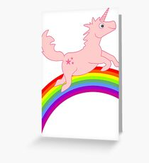 Pink Unicorn riding the Rainbow VRS2 Greeting Card