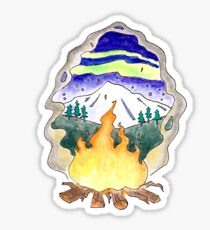 Campfire Under a Mountain and Northern Lights Sticker