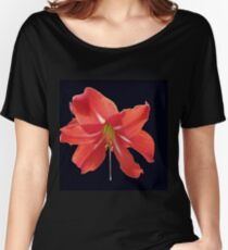 Scarlet Lily on Black Background Women's Relaxed Fit T-Shirt