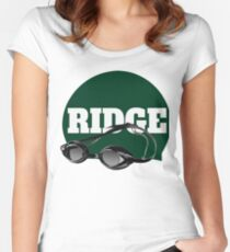 Ridge Swimming Cap and Goggles Women's Fitted Scoop T-Shirt