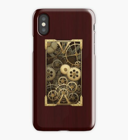 Steampunk cover wood and brass gears iPhone Case/Skin