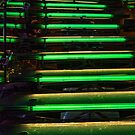 Green Lit Glass Stairs on Radiance of the Seas by Gerda Grice