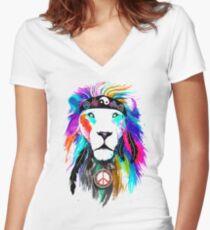 King Lion Women's Fitted V-Neck T-Shirt