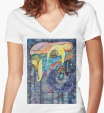 The evening, an allegory Women's Fitted V-Neck T-Shirt