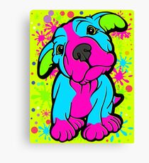 Colourful Pit Bull Puppy  Canvas Print