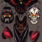 old school moth, bat, skulls and heart tattoo flash shirt by resonanteye