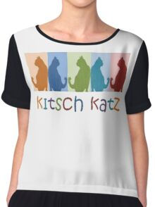 Kitsch Cats Silhouette Cat Collage On Pastel Background Chiffon Top