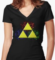 Smoky Triforce Women's Fitted V-Neck T-Shirt