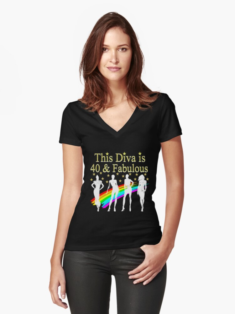 40TH BIRTHDAY GLAM GODDESS Womens Fitted V Neck T Shirt Front