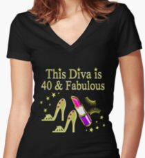 GOLD SPARKLING FABULOUS 40TH DESIGN Women's Fitted V-Neck T-Shirt