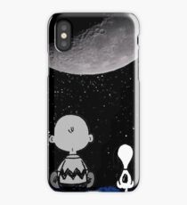 snoopy and charlie look at the moon iPhone Case/Skin
