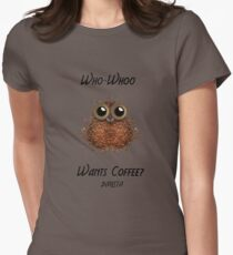 Barista Coffee Owl Womens Fitted T-Shirt