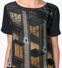 The Old and the New - London Big Ben Reflected in a Modern Building Women's Chiffon Top
