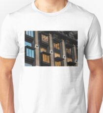 Big Ben Abstract - The Iconic Clock Reflected On A Wall Of Windows T-Shirt
