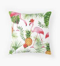 Flamingo & Pineapples Throw Pillow