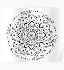 Simple black and white mandala Poster
