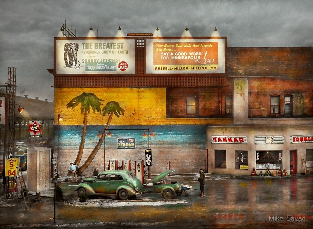 Gas Station - Dreaming of summer 1937 by Michael Savad