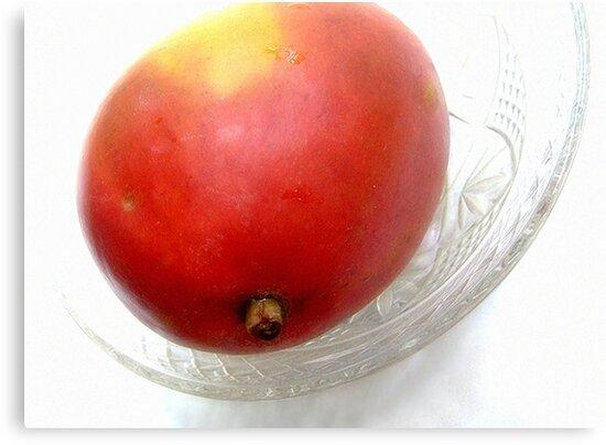 Mango on a Glass Dish by LouiseK
