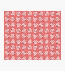 Mandala Flowers in white on coral Photographic Print