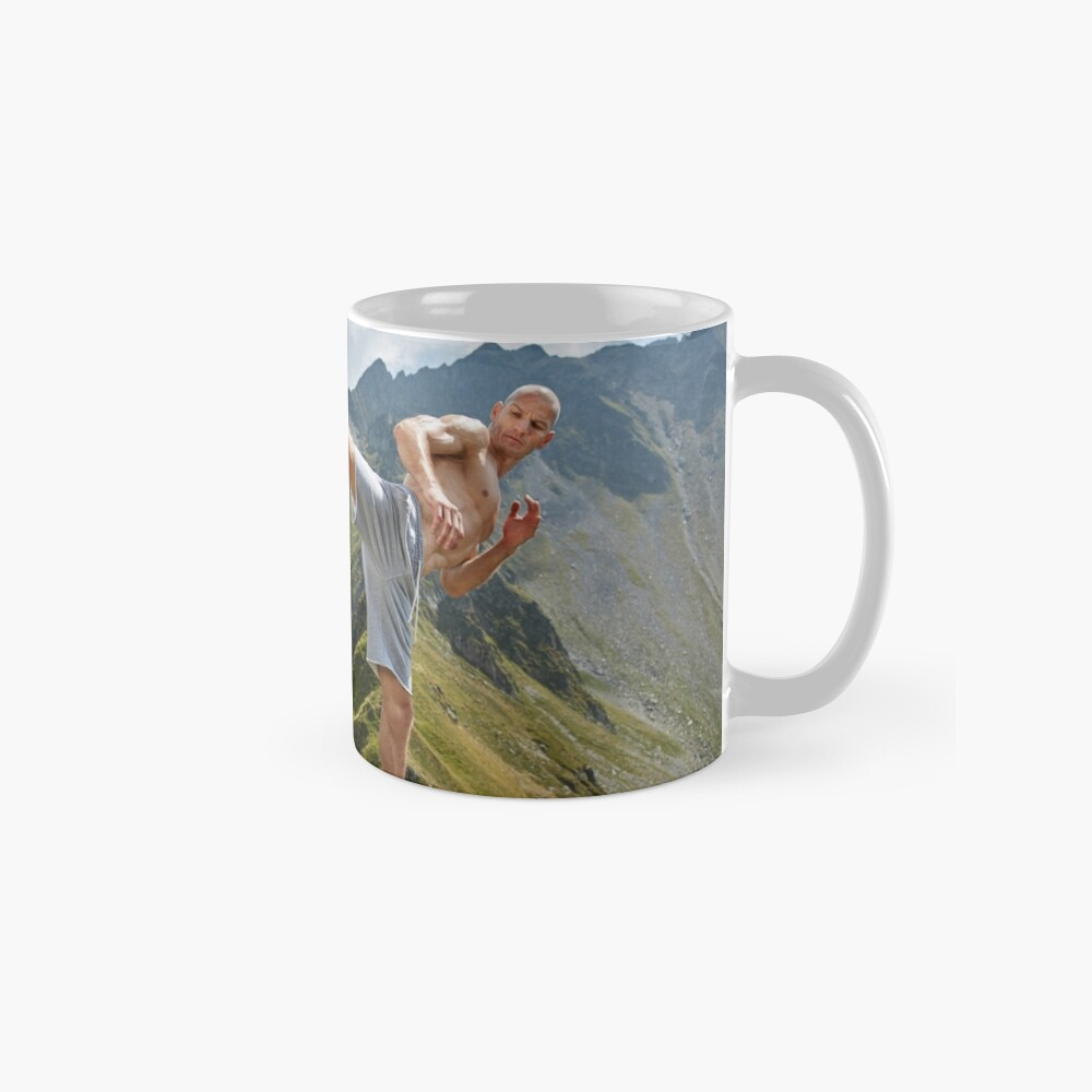 Kickboxer or muay thai fighter training on a mountain Mug