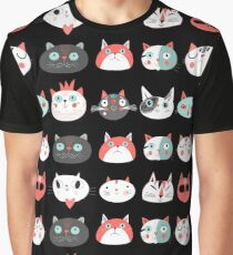 Pattern of portraits of various cats  Graphic T-Shirt