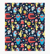 Seamless jolly pattern with monsters Photographic Print