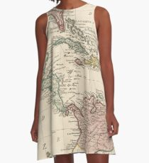 Map of the West Indies Caribbean by Isaak Tirion (1765) A-Line Dress