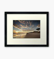 Papamoa Domain Surf Gold Framed Print