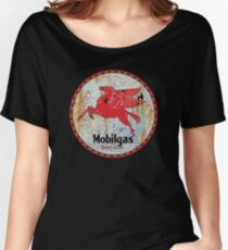 Vintage Mobil Gas and Oil sign rusty as heck. Women's Relaxed Fit T-Shirt