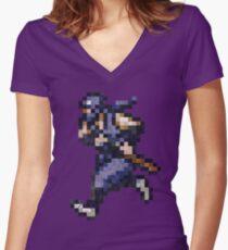 Ninja Gaiden Vintage Pixels Women's Fitted V-Neck T-Shirt