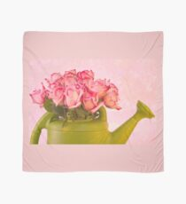 Pink Roses In Green Watering Can Scarf