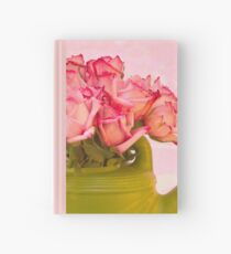 Pink Roses In Green Watering Can Hardcover Journal