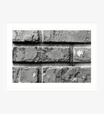 Black and White Brick Wall Art Print