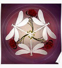 Dragonfly Kiss Mandala by Marg Thomson Poster