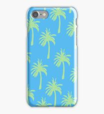 Green Palm Trees on Blue iPhone Case/Skin