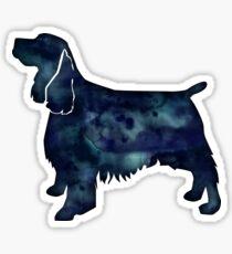 springer spaniel dog black watercolor silhouette sticker