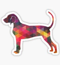 Bluetick Coonhound Colorful Geometric Pattern Silhouette - Multi Sticker