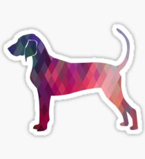 Bluetick Coonhound Colorful Geometric Pattern Silhouette - Pink Sticker