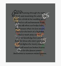 Shadowhunters Nursery Rhyme Photographic Print