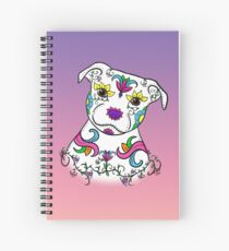 Staffordshire Bull Terrier Sugar Skull Spiral Notebook