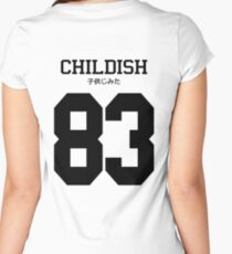 Childish Jersey: Black Font Women's Fitted Scoop T-Shirt