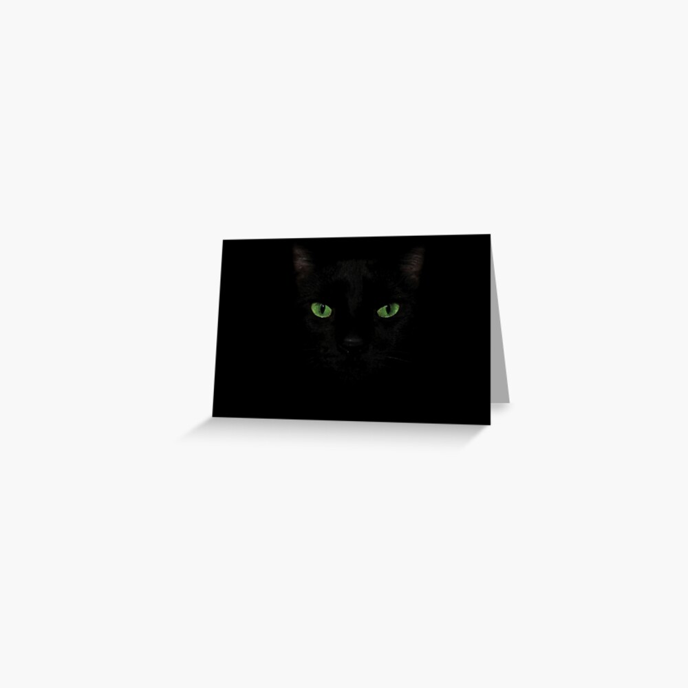 Black Cat Face  Greeting Card