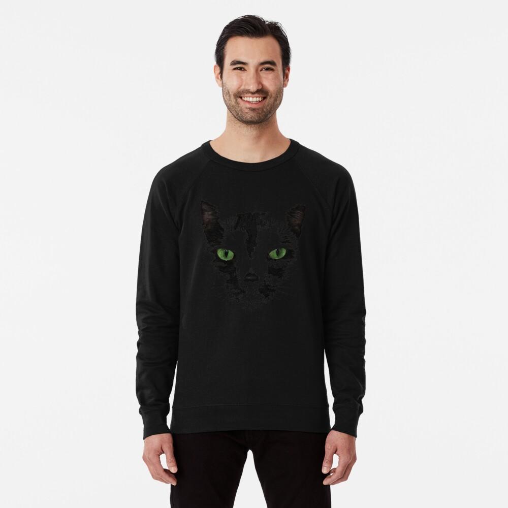 Black Cat Face  Lightweight Sweatshirt
